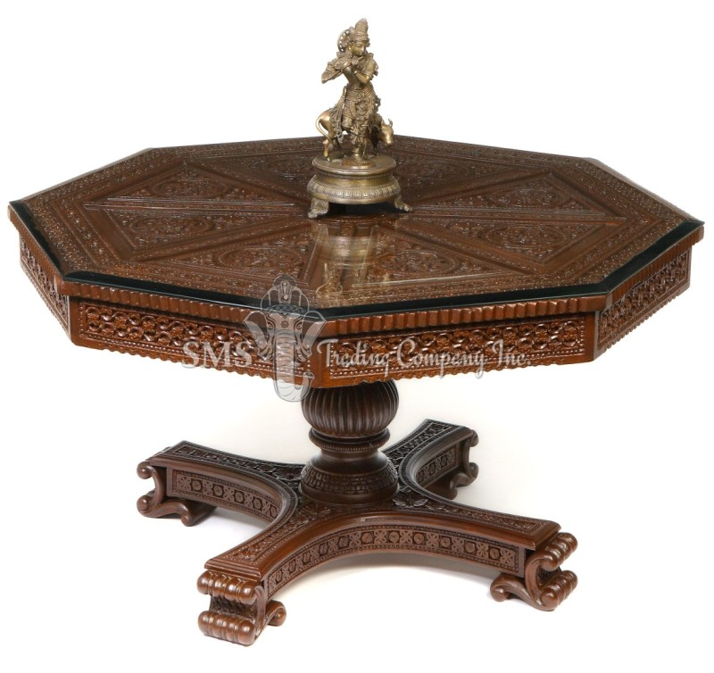 Octagonal Table with Pedestal Base
