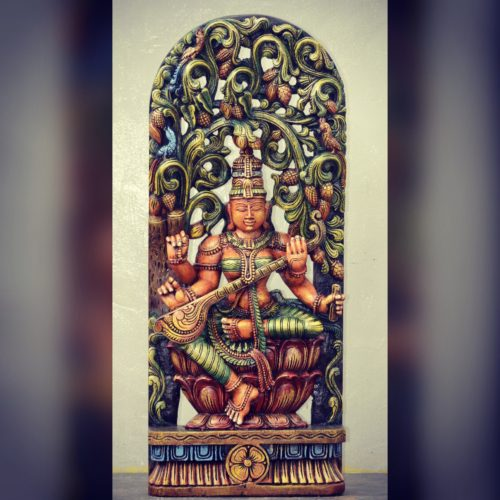 3 ft Colored Saraswati Panel