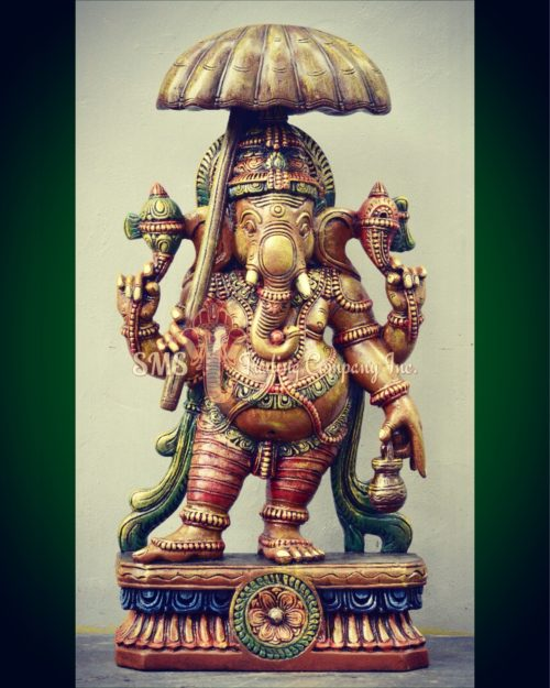 3 ft Colored Ganesha with Umbrella Sculpture