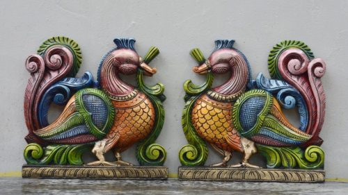 1 ft x 1 ft Multicolored Swan Pair