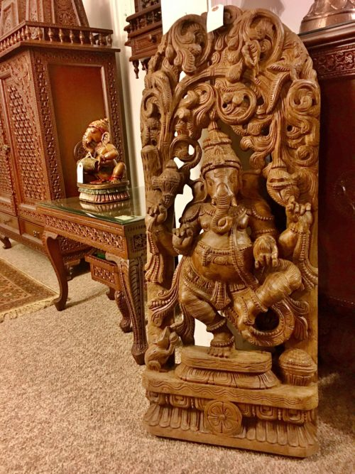 3 ft Natural Finish Ganesha Panel
