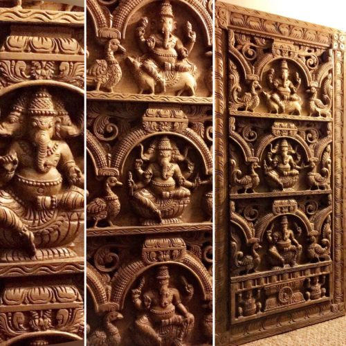 23 in x 4 ft Natural Finish Ganesha Panel