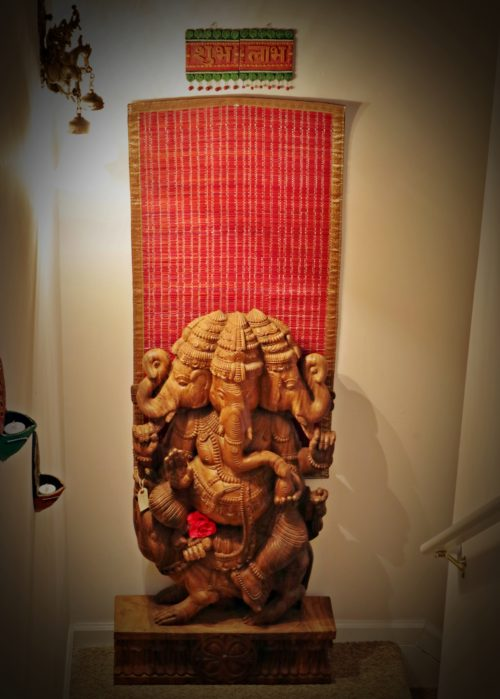 27 in x 4 ft Tri-Mukha Natural Finish Ganesha Sculpture