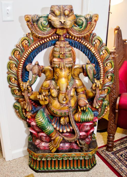 30 in x 4 ft Colored Ganesha on Lotus Sculpture