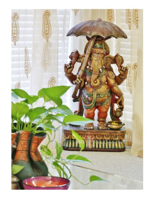 3 ft Colored Ganesha with Umbrella